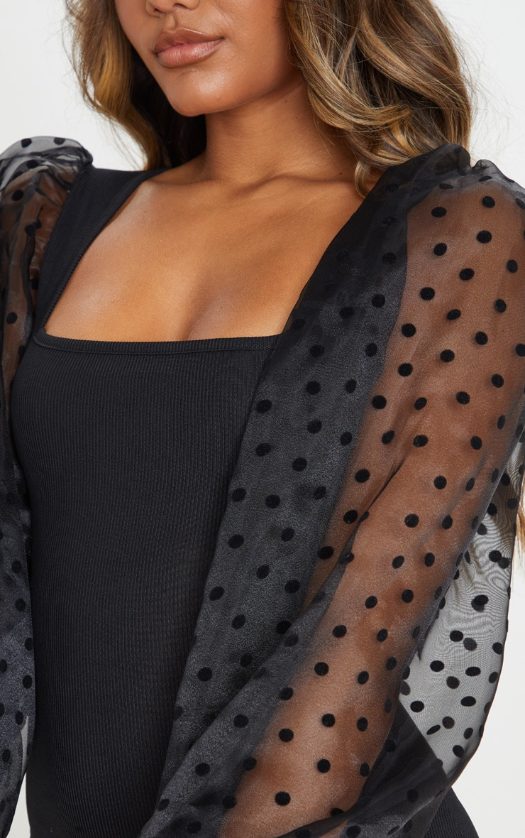 Black Polka Dot Organza Long Sleeve Square Neck Rib Bodycon Dress 5