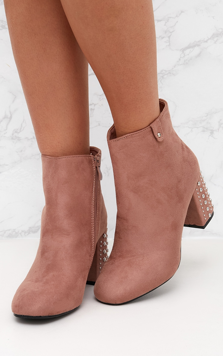 Blush Faux Suede Studded Heel Ankle Boots 2