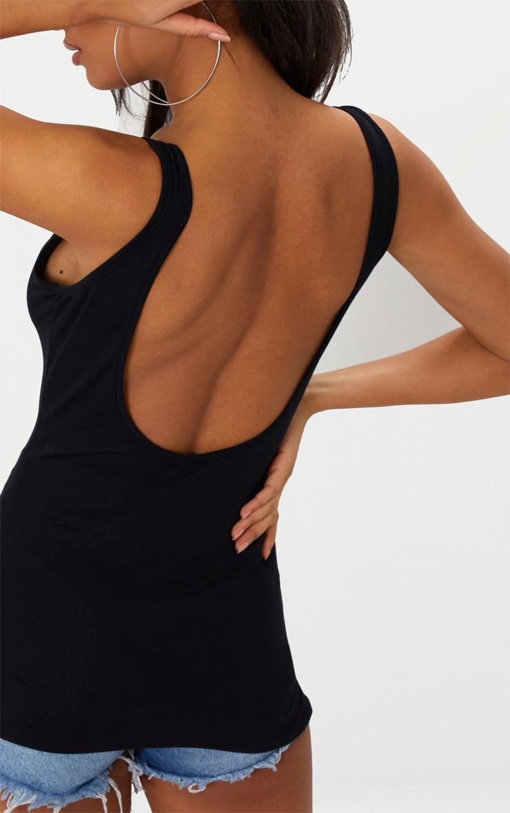 Basic Black Jersey Scoop Low Back Longline Vest 5