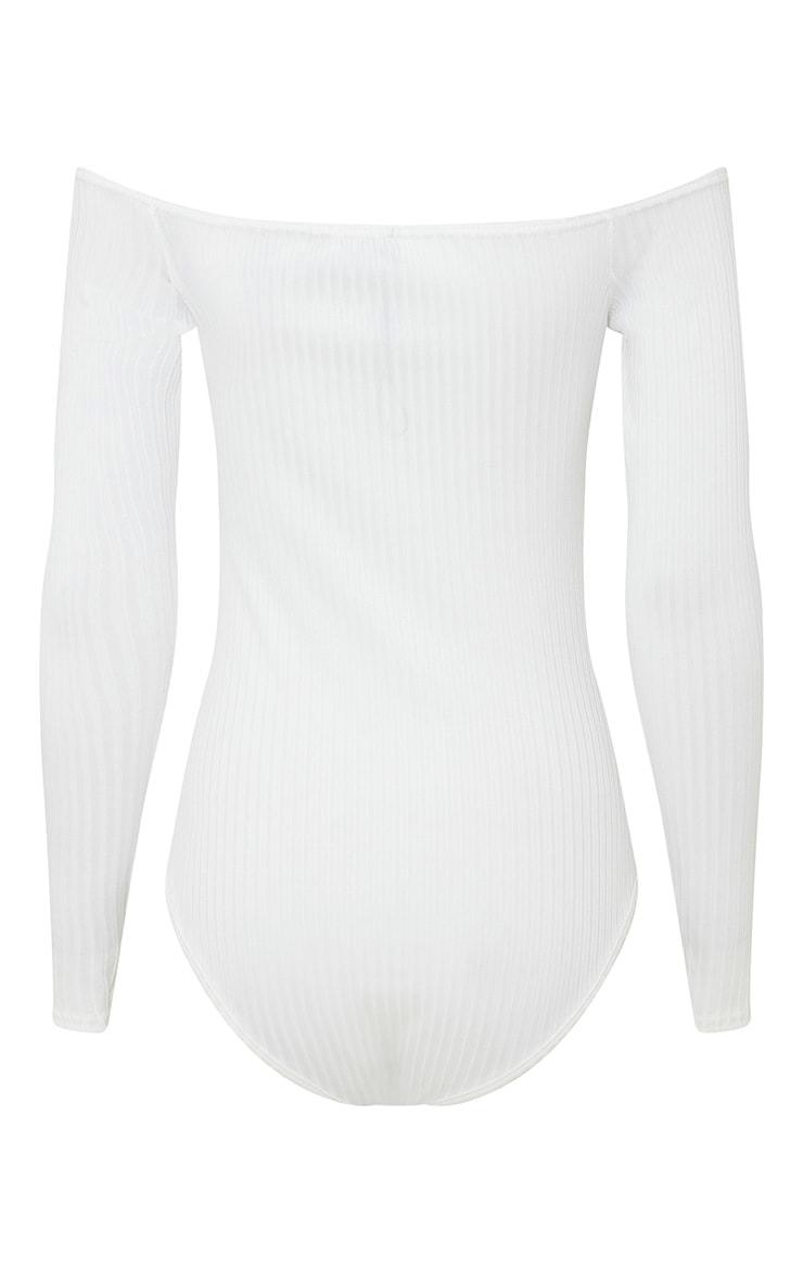 Lilith Cream Ribbed Bardot Bodysuit 4