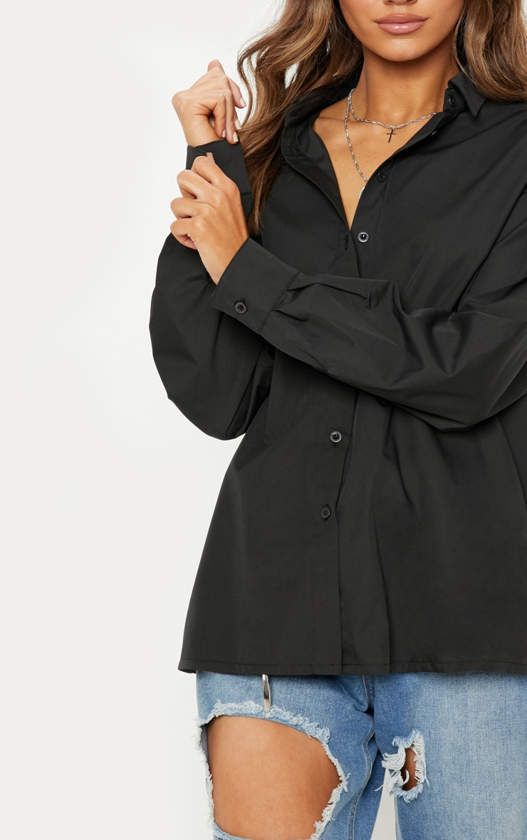 Black Button Cotton Oversized Shirt 5