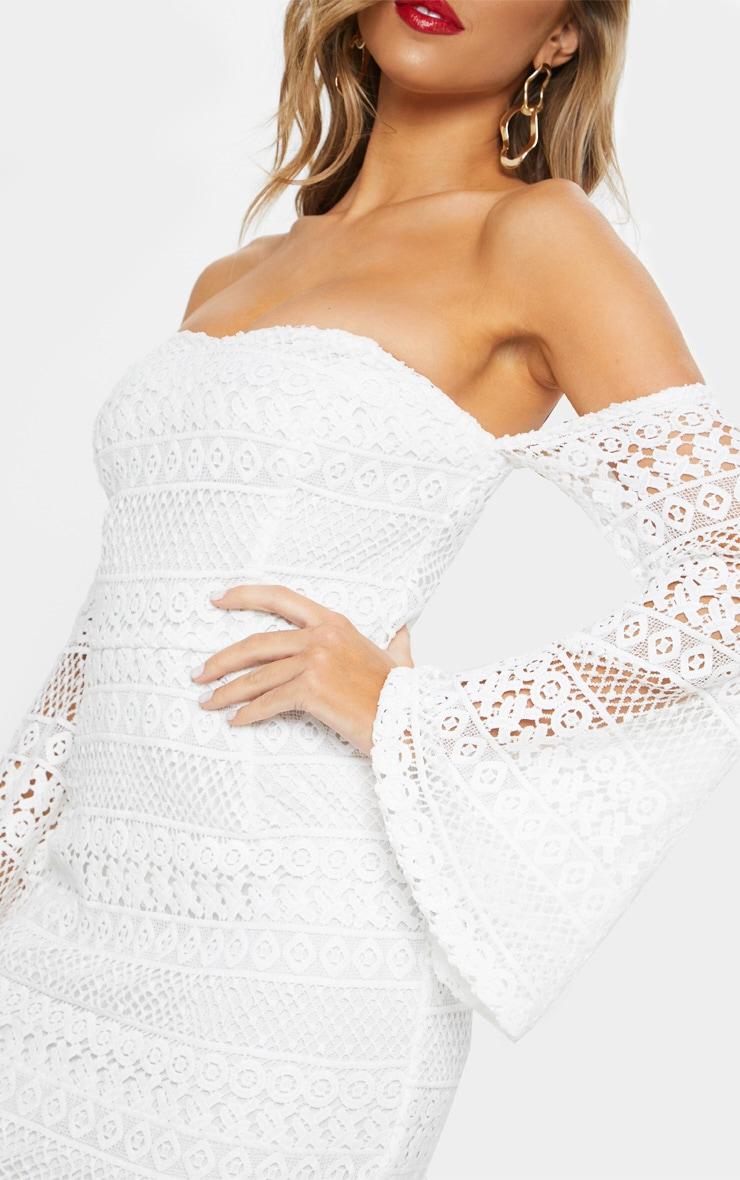White Lace Bardot Bell Sleeve Midi Dress 5