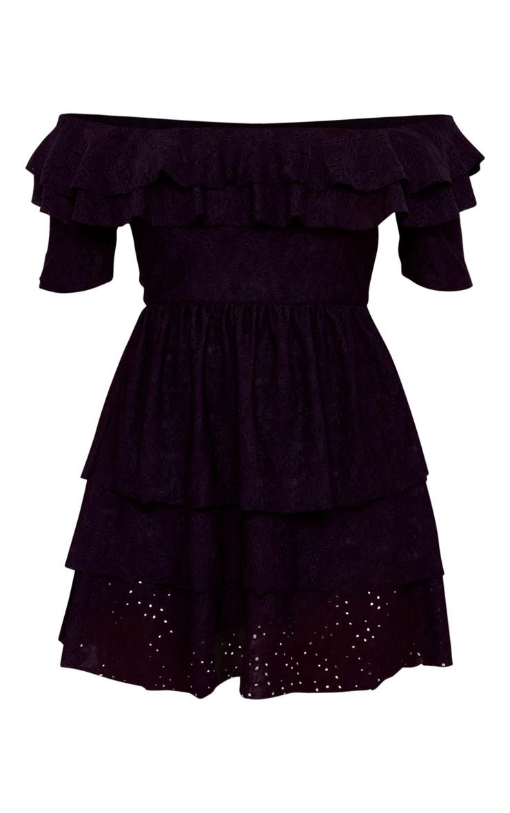 Petite Black Broderie Frill Skirt Bardot Dress 5