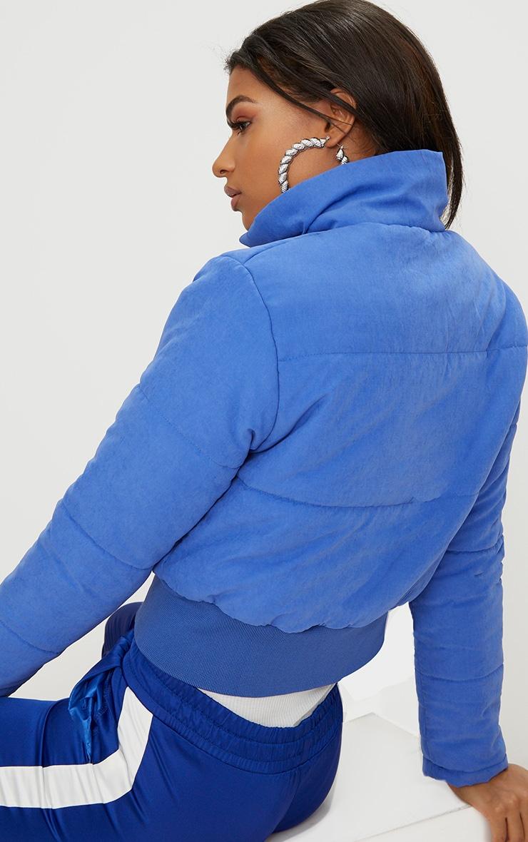 Cobalt Peach Skin Cropped Puffer Jacket 2