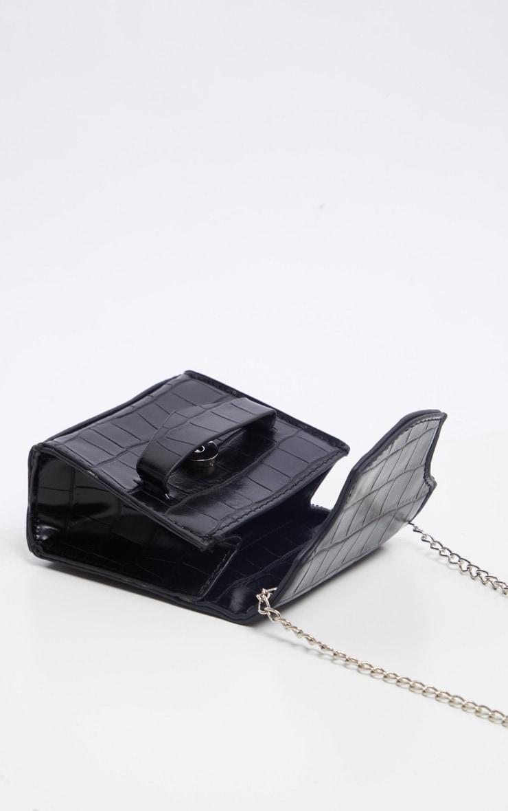 Mini-sac faux croco verni noir à bandoulière 4