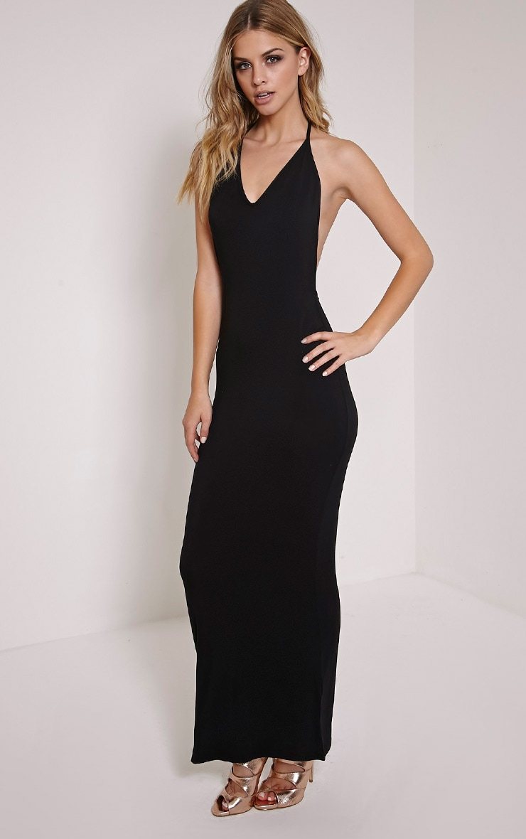 Basic Black T Bar Back Maxi Dress 3