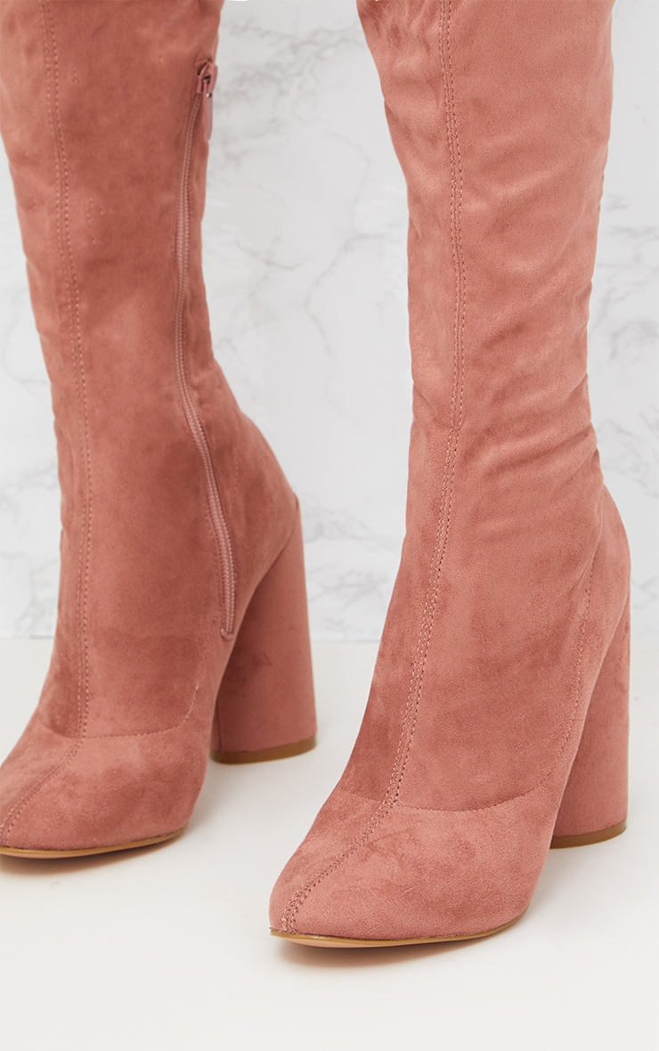 Blush Faux Suede Thigh High Round Heeled Boots  5