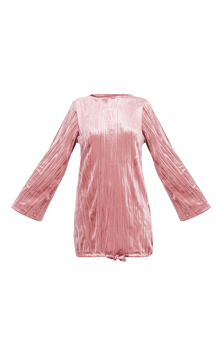 Ailsah Dusty Pink Textured Velvet Bell Sleeve Shift Dress 3