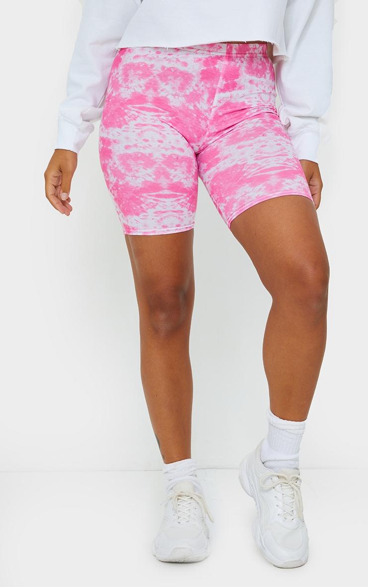 Petite Black And Pink Tie Dye Cycle Short Multi Pack 2