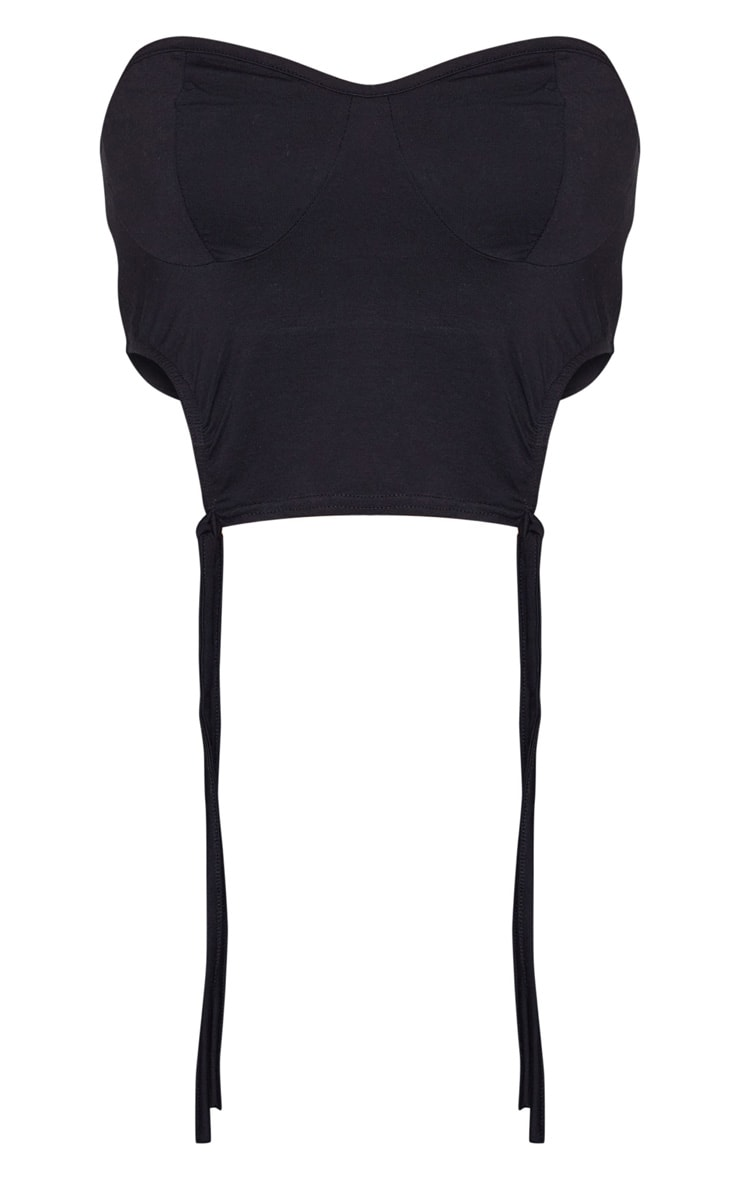 Black Jersey Ruched Cup Detail Bandeau Top 5