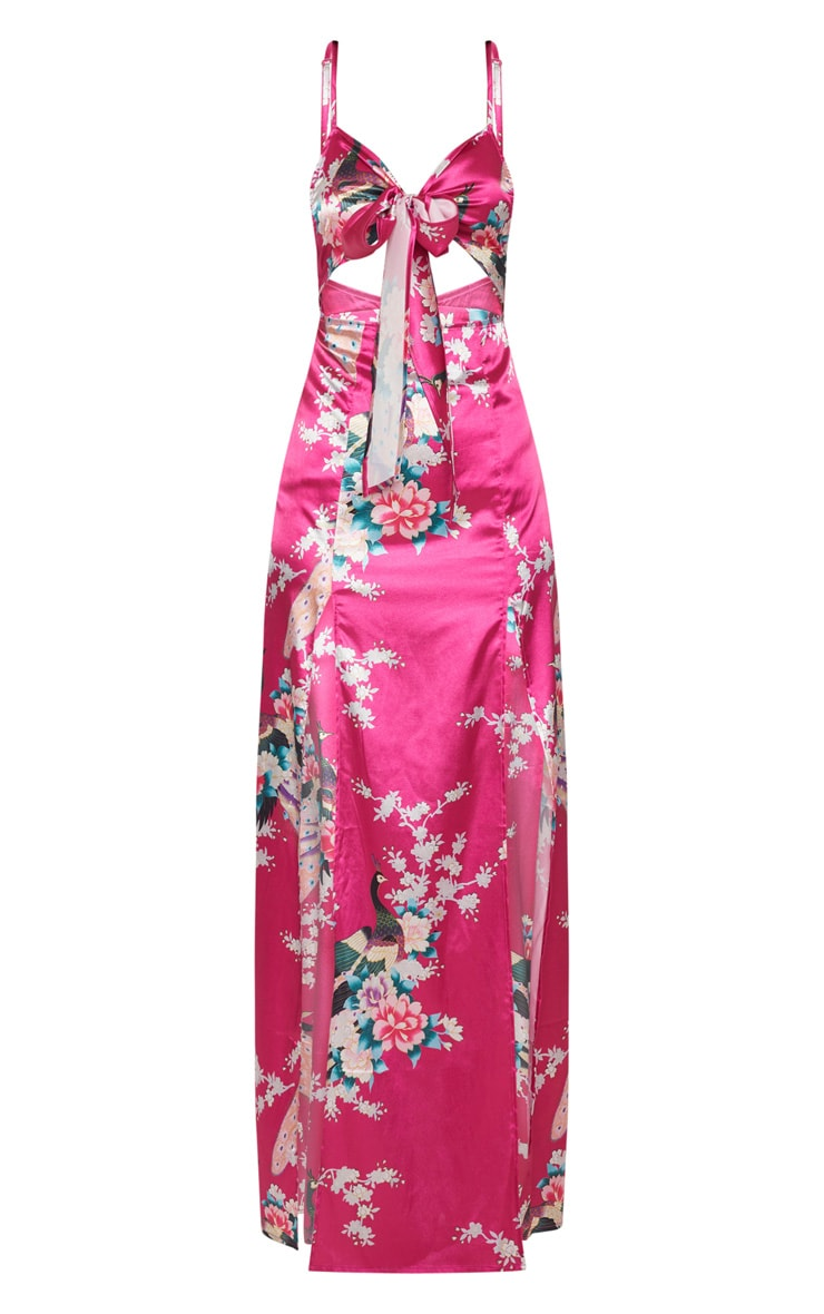 Pink Oriental Tie Front Cut Out Maxi Dress 3