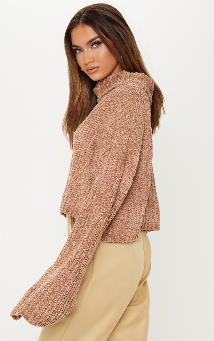 Camel Chenille Cropped High Neck Knitted Sweater  2