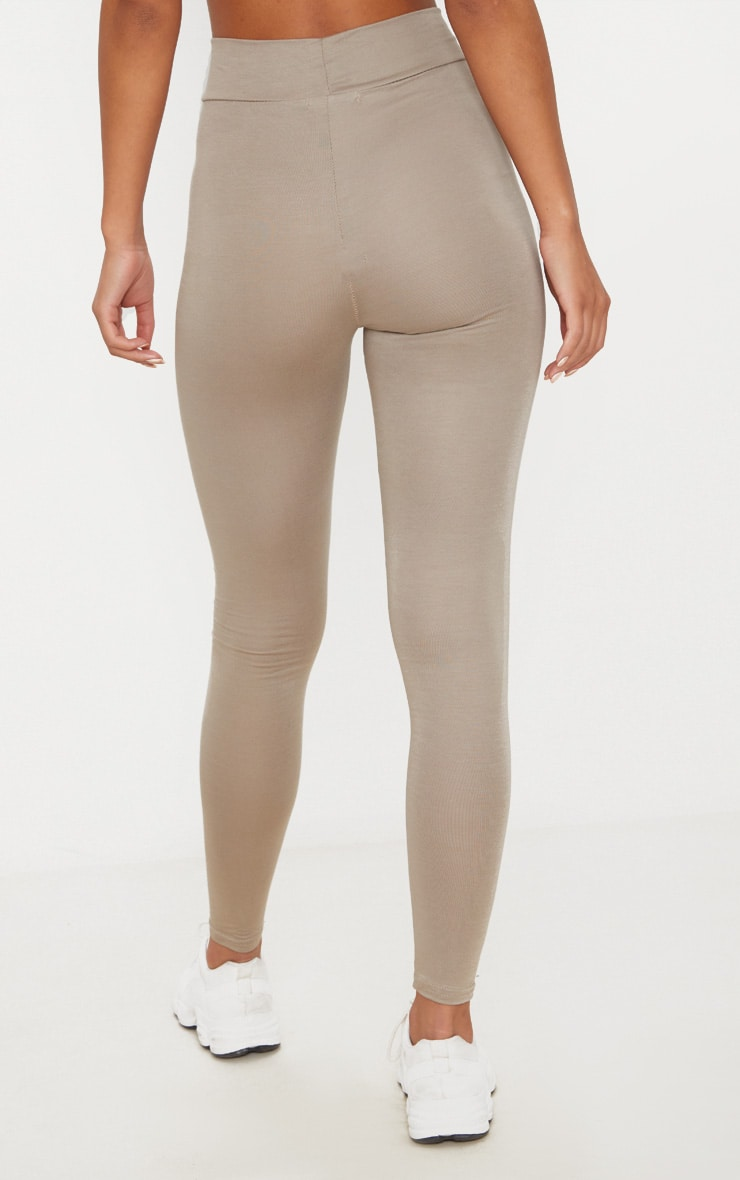 Basic Taupe High Waisted Jersey Leggings 4