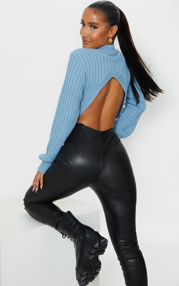 Blue Ribbed Split Back Cropped Sweater 1