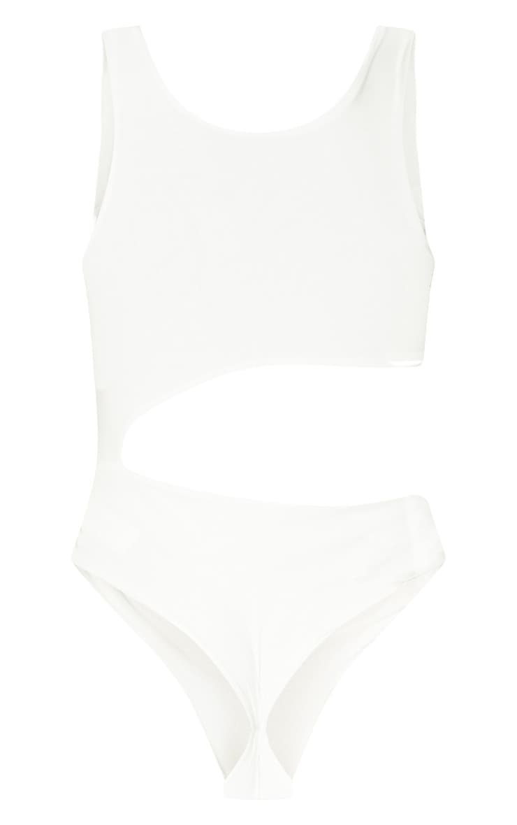 Cream Slinky Cut Out Thong Bodysuit  4