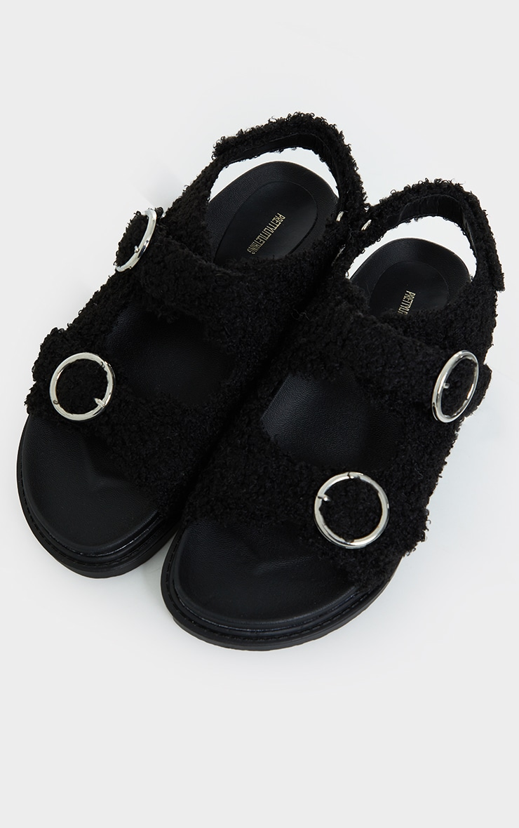 Black Faux Shearling Buckle Sandals 3