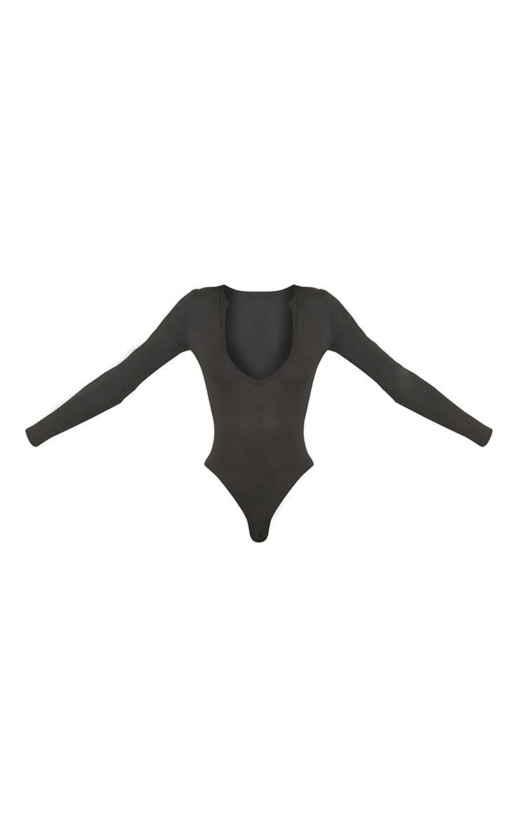 Tall Black Basic Plunge Long Sleeve Bodysuit 5
