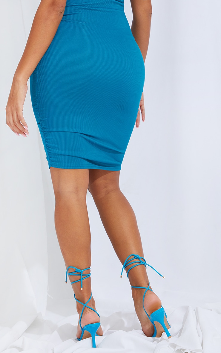 Shape Teal Rib Ruched Side Bodycon Skirt 3