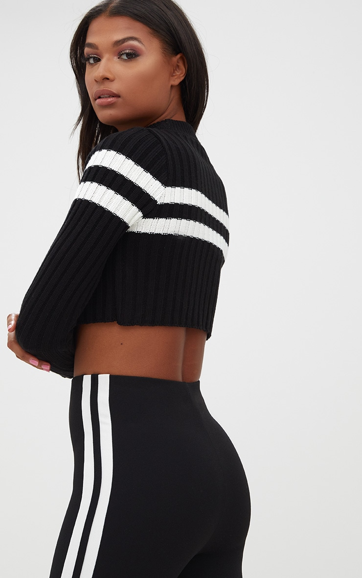 Black Stripe Detail Cropped Knitted Sweater 2