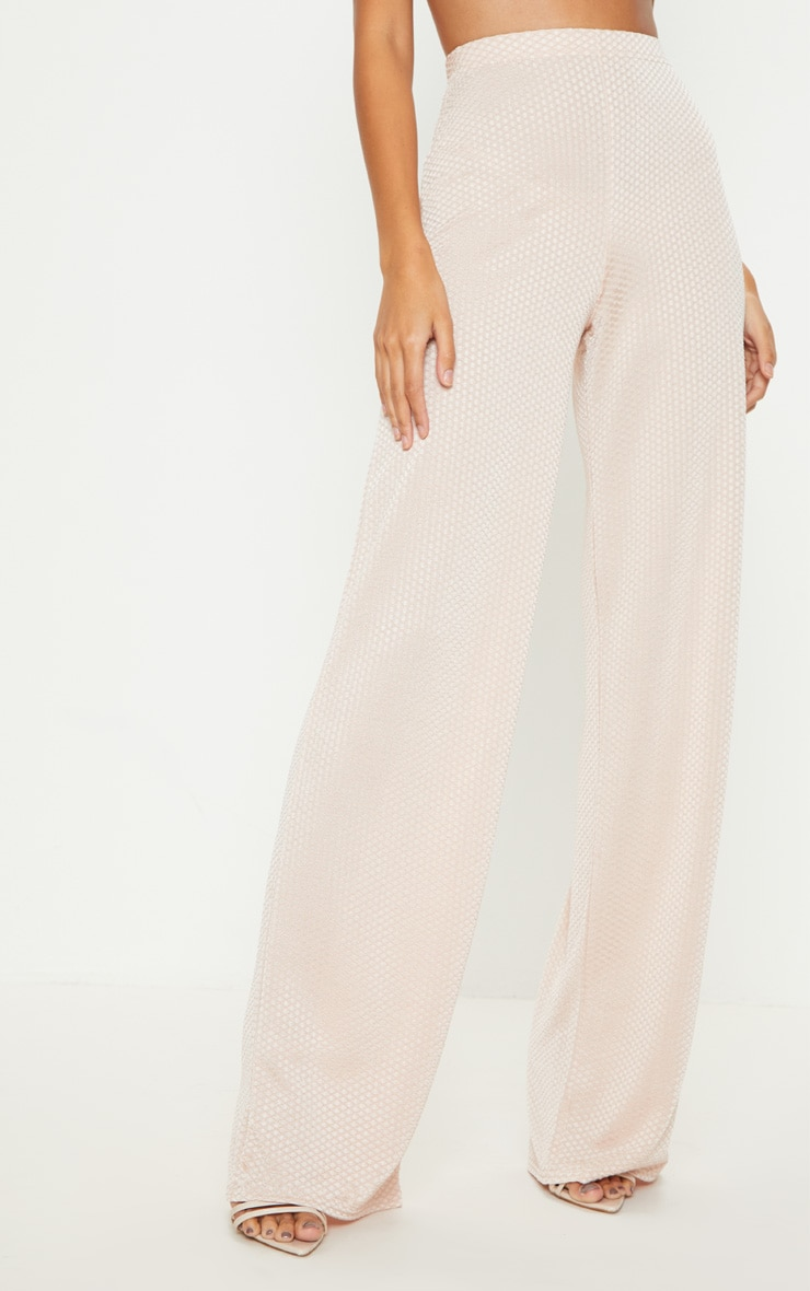 Rose Gold Textured Slinky Wide Leg Trousers 2