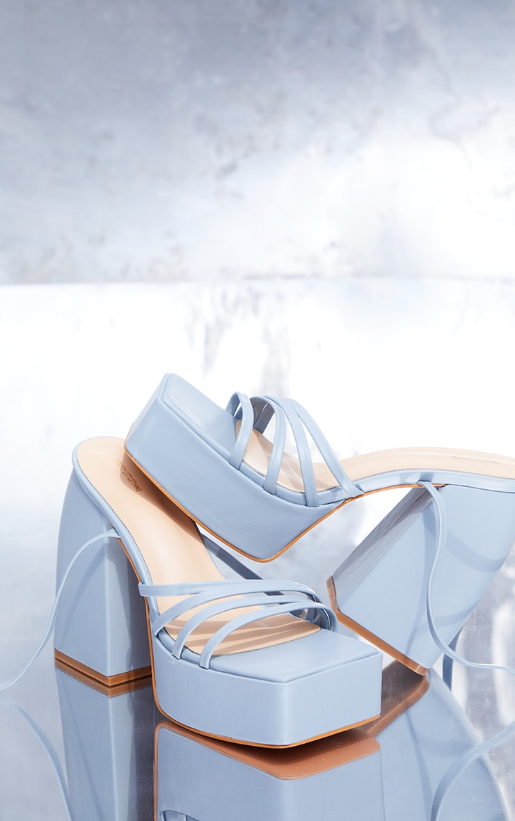 Blue PU Square Toe Platform Strappy Heeled Sandals 3