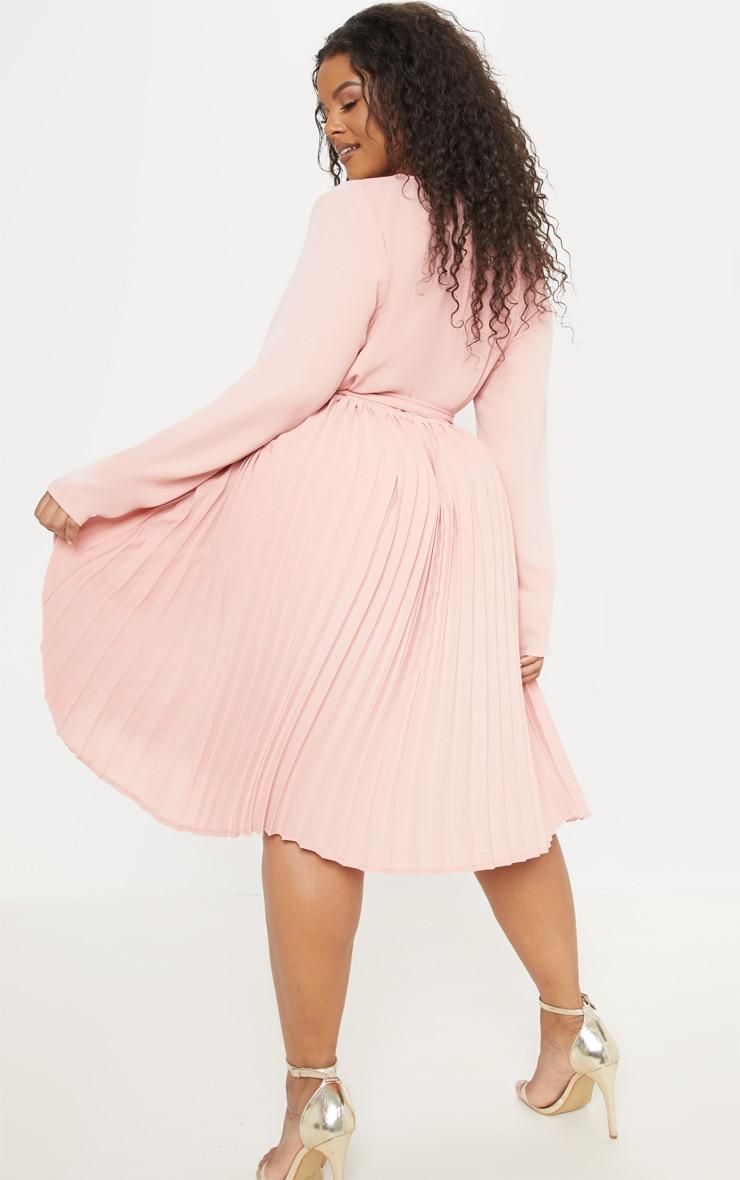 Plus Rose Long Sleeve Pleated Midi Dress 2