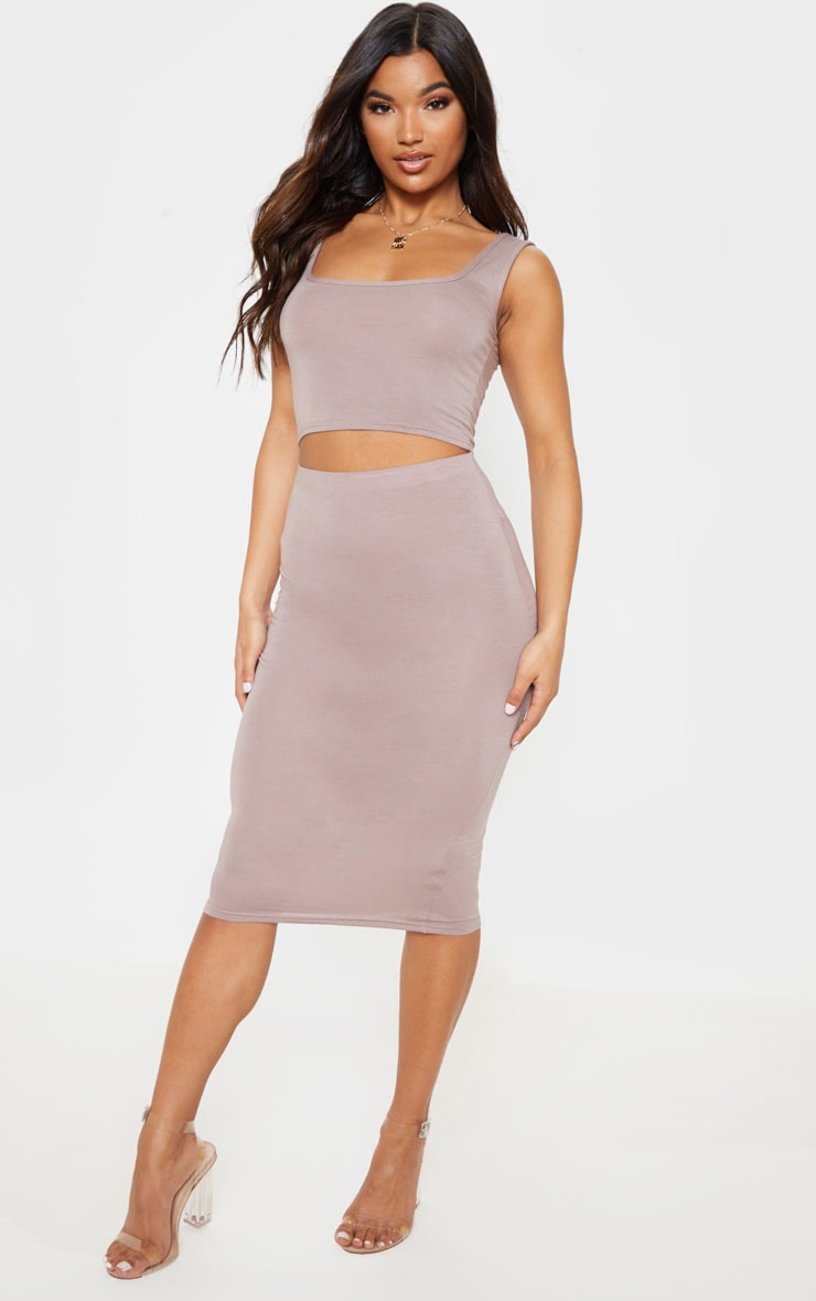 Basic Taupe Long Line Midi Skirt 1