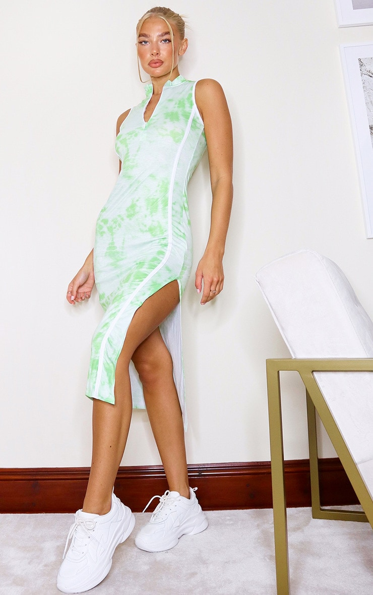 Lime Tie Dye Zip Binding Detail Sleeveless Midi Dress 1