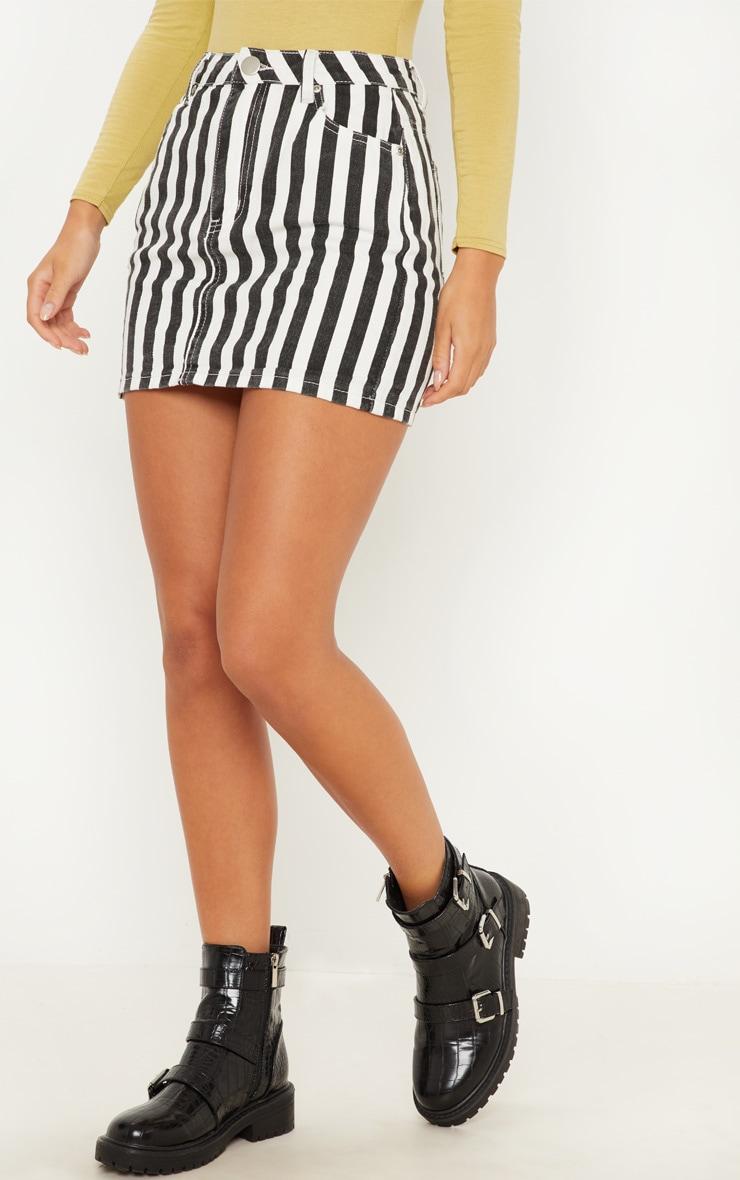 Monochrome Stripe Denim Skirt  2