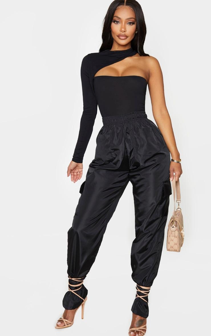 Shape Black Jersey High Neck One Sleeve Bodysuit 3