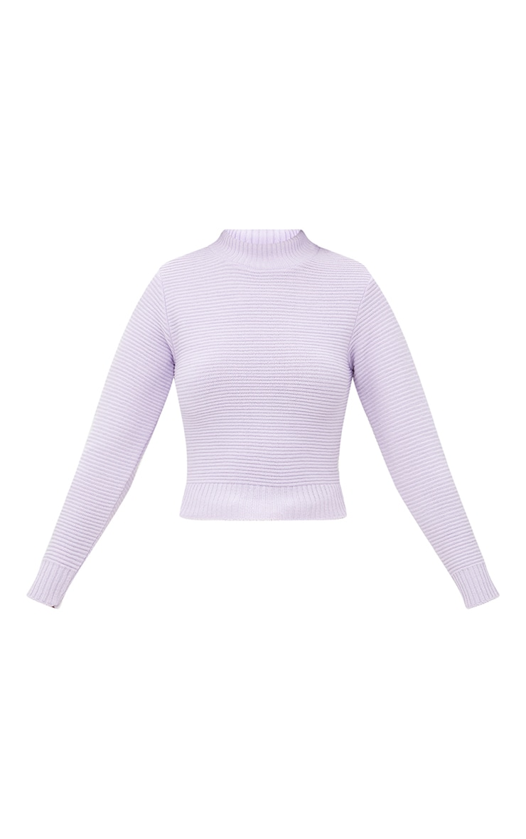 Lilac Ribbed Cropped Knitted Jumper 3