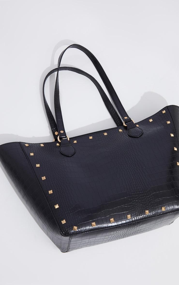 Black Croc Gold Studded Tote Bag 3