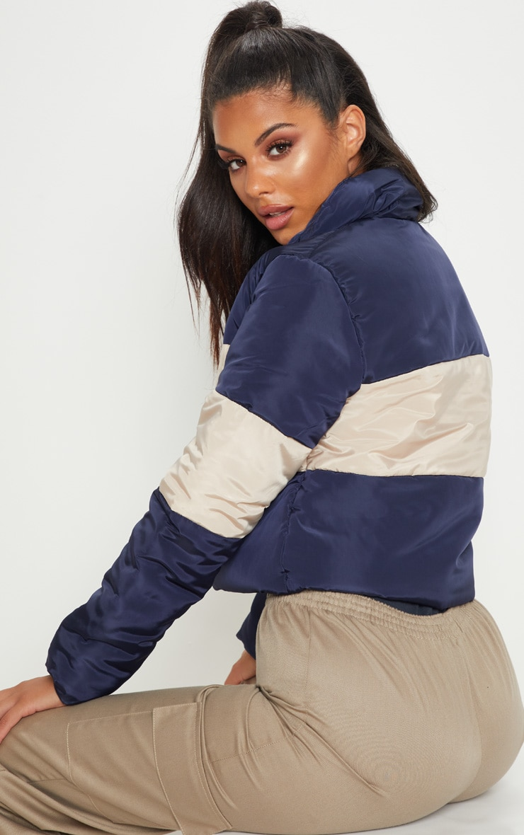 Navy  Cropped Colour Block Puffer  2