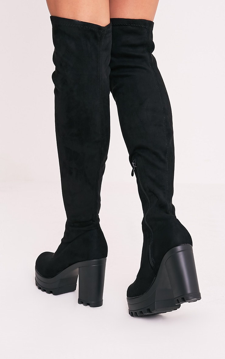Kymberly Black Platform Cleated Sole Knee High Boots 3