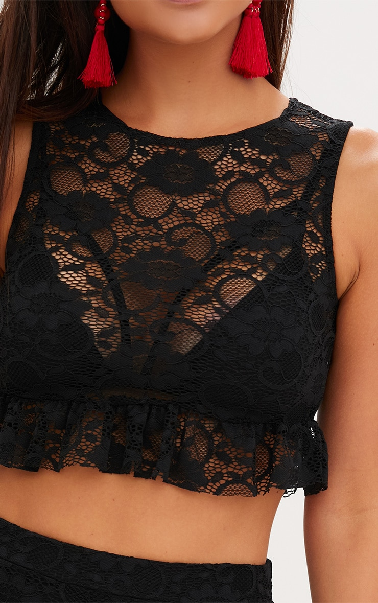 Black Lace Frill Hem Top 5