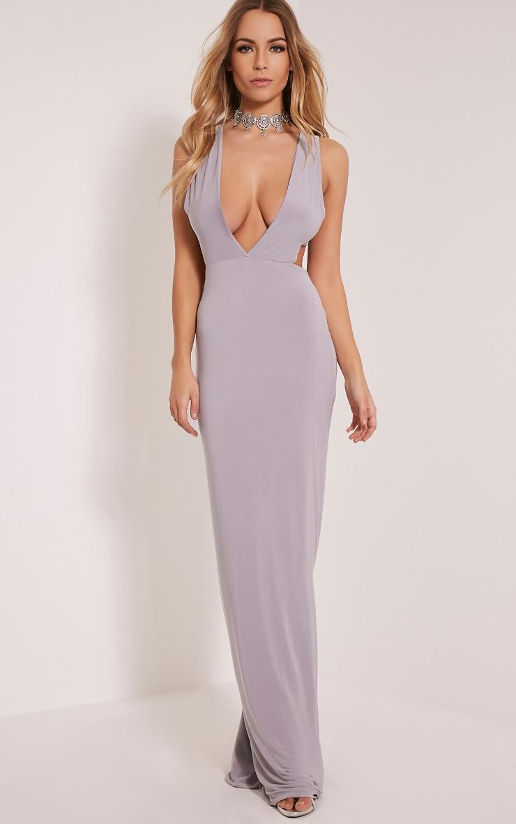 Mayah Grey Deep Plunge Tab Side Maxi Dress 5