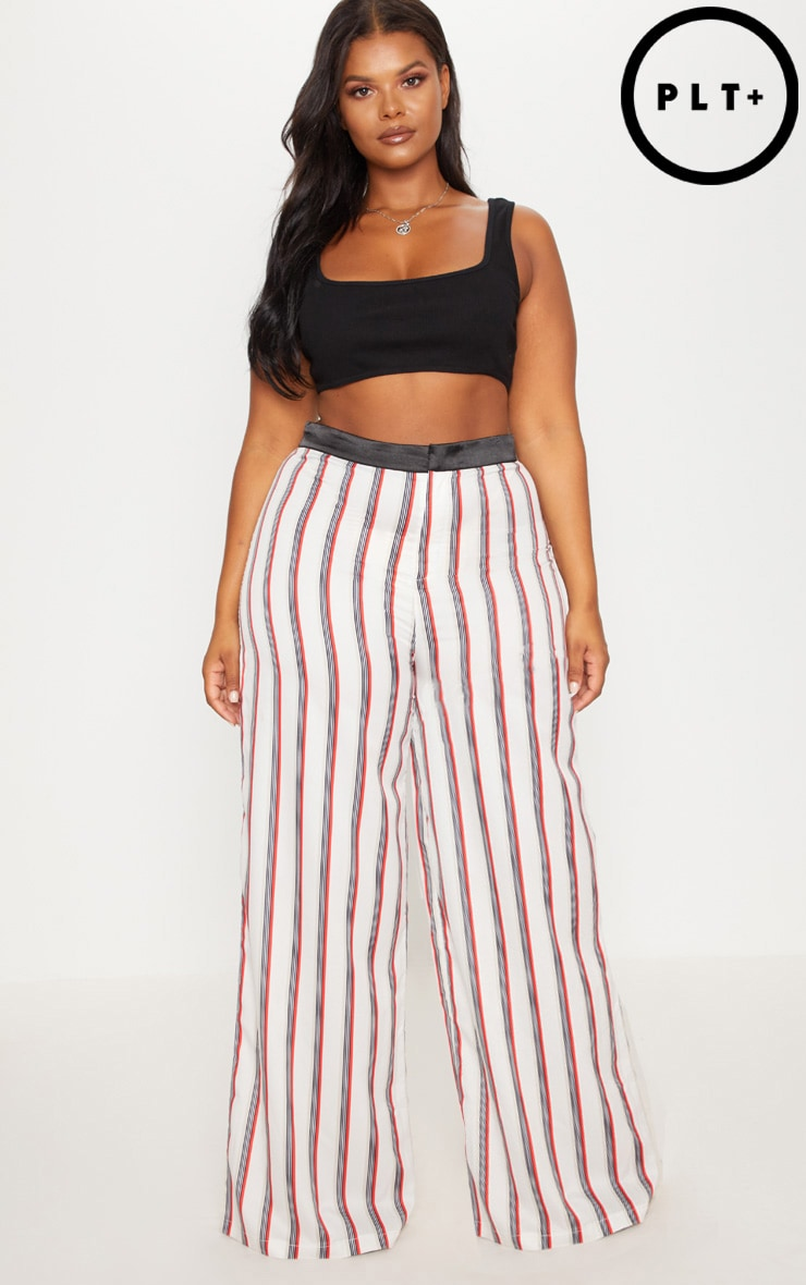 Plus Multi Stripe Wide Leg Trousers