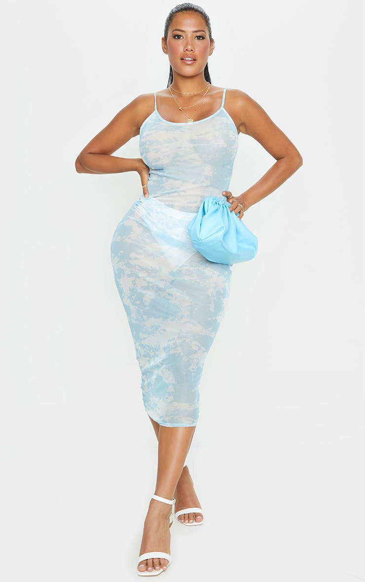 Shape Pale Blue Tie Dye Sheer Mesh Maxi Dress 1