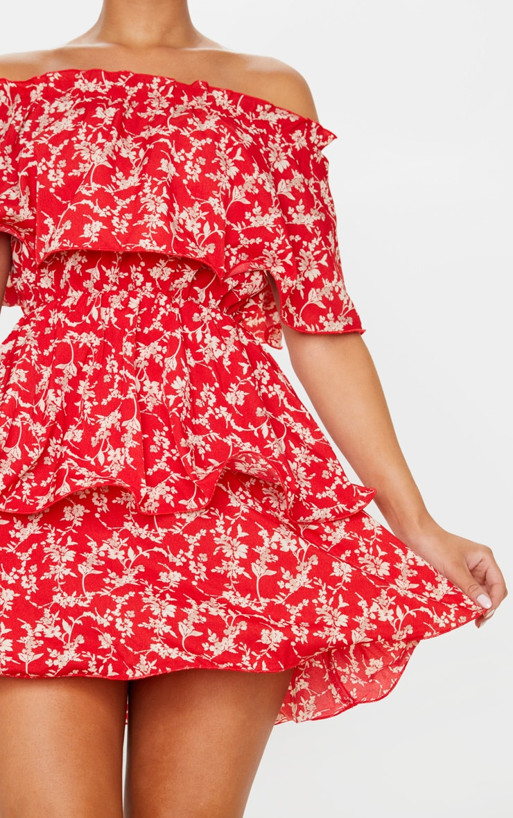 Red Floral Print Chiffon Bardot Ruffle Tiered Dress 5