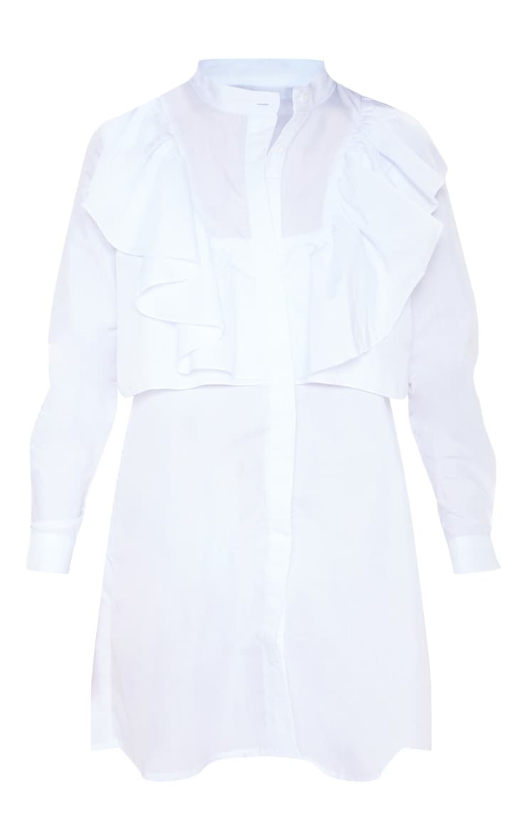Flora White Frill Front Shirt Dress 3