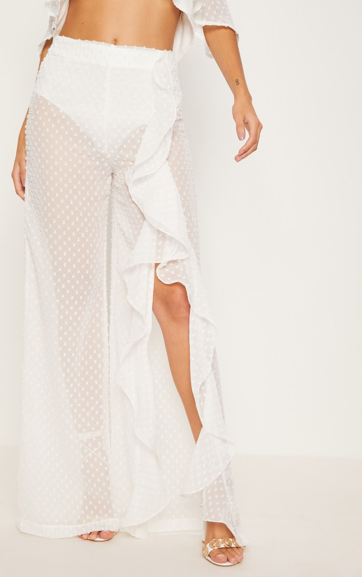 White Dobby Mesh Frill Detail Wide Leg Pants 2