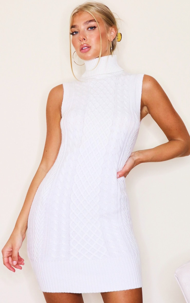 White Sleeveless Cable Knit Roll Neck Jumper Dress 3