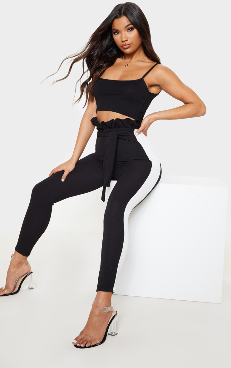 Black Side Stripe Paperbag Skinny Trousers 1