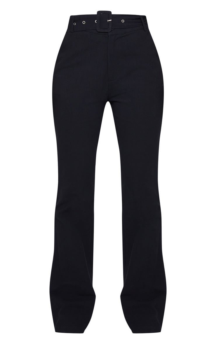 Black Textured Belted Straight Leg Trousers 5