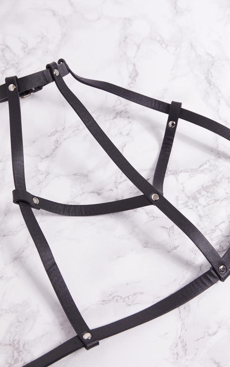 Black Studded Front Harness 4