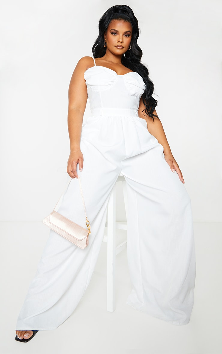 Plus White Ruched Cup Strappy Wide Leg Jumpsuit 1