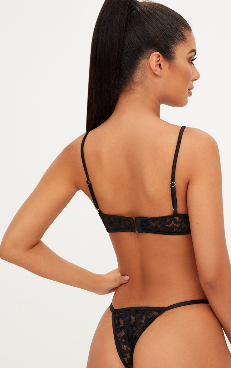 Black Lace Strappy Thong 2