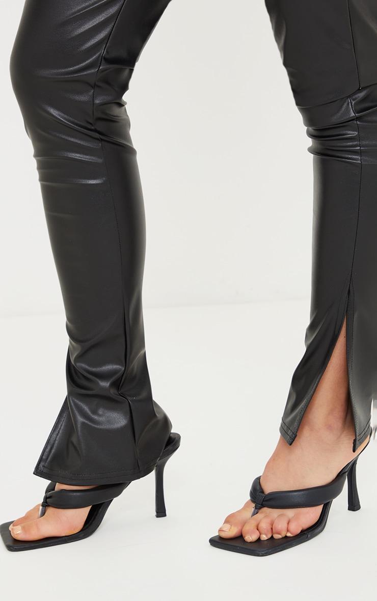 Maternity Black Faux Leather Split Hem Straight Leg Leggings 4