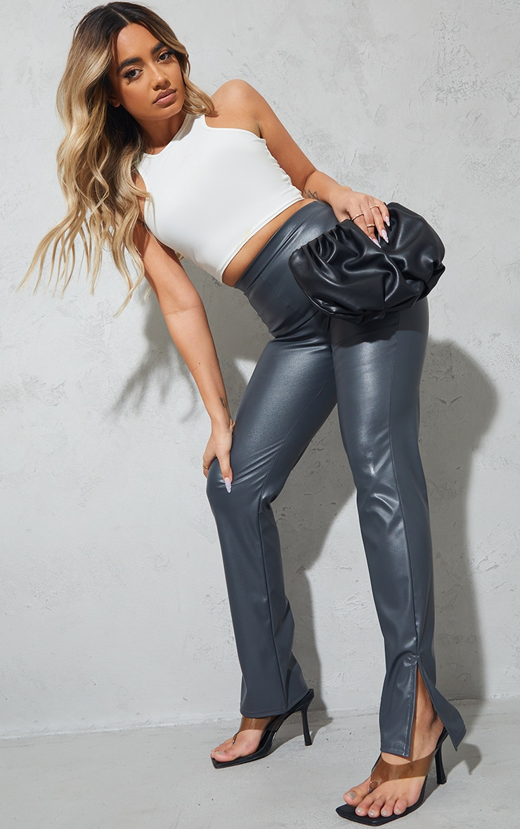 Petite Grey PU Split Hem Pants