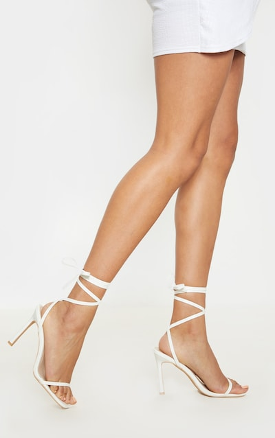 White Square Toe Ankle Lace Up Strappy Sandal